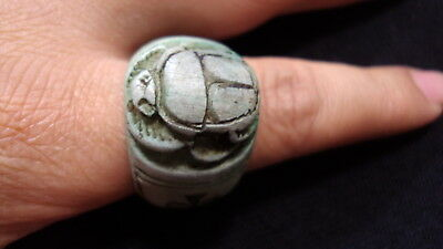Egyptian Rare Faience Scarab Pharaoh Ankh Finger Ring Seal Hieroglyphic #197