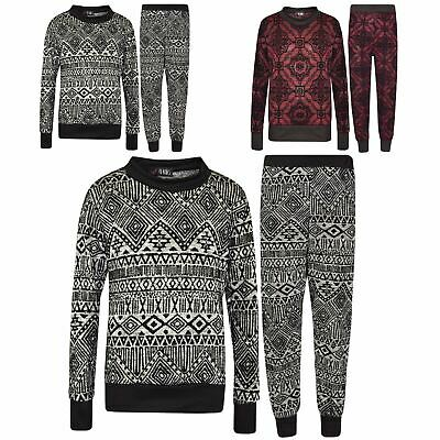 Girls Lounge Suit Kids Aztec Print Top & Bottom Loungewear Tracksuit 7-13 Years