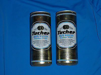 2x Tucher Hefe Weizen Beer Can 1988 50cl Germany Vintage Lager Draught Brau Ag