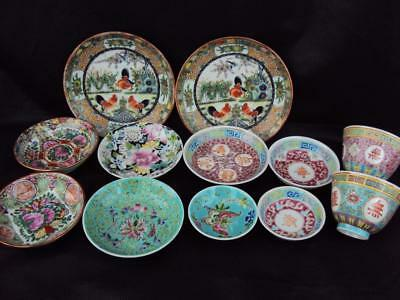 IMPRESSIVE  Collection Chinese Oriental Antiques Porcelain Famille Rose Dishes
