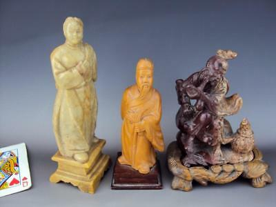 Impressive Chinese Hard Wood  Soap stone Carving Figurines Oriental Antiques