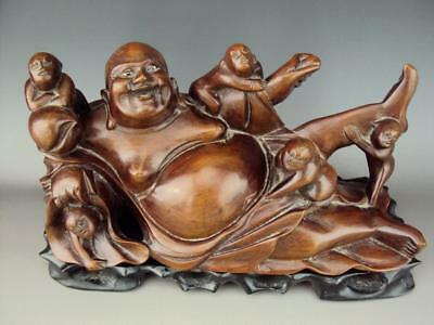 V-Impressive Chinese Hard Wood  Carving Buddha Figurines Oriental Antiques