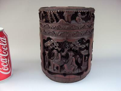 Impressive DEEP Carved Chinese Antiques Oriental Bamboo Carved Tea Caddy