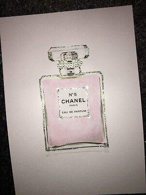 Fashion wall art glitter diamante Chanel perfume print sparkly pretty painting