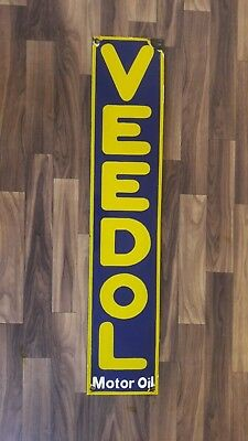 Porcelain Enamel Advertising Veedol Motor Oil  Sign  7 X 35 Inch