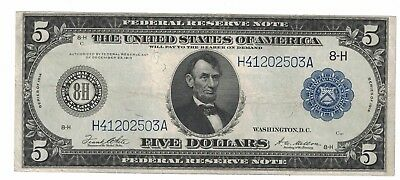 Fr. 875B 1914 $5 St. Louis Federal Reserve Note VF H41202503A Rare B type