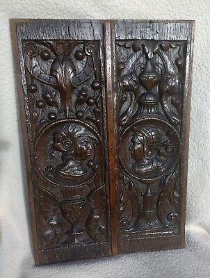 Exceptional Pair Of 16th Century Romayne Carved Oak Panels C1530