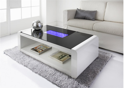 ... Infinity High Gloss Coffee Table White Black Gloss With Blue Led  Lighting ...