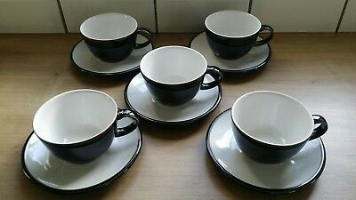 5 Denby jet black cups and saucers, immaculate condition