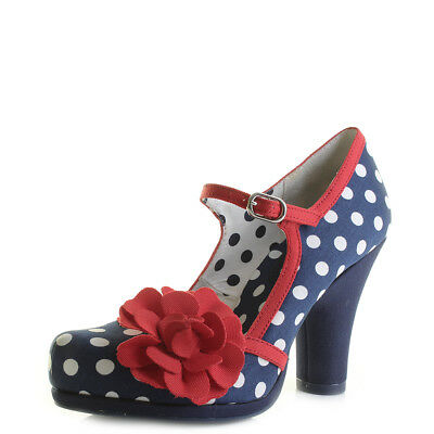 Womens Ruby Shoo Hannah Navy Spots Red Blue High Heel Court Shoes Shu Size