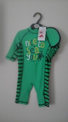 M&S All-In-1 Safe in the Sun Swimsuit& hat SPF 40+ Age 18/24 months. BNWT £18.00
