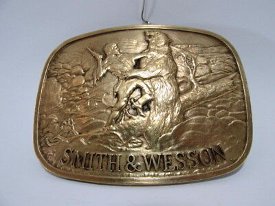 """Vintage 1978 Smith & Wesson """"The Last Cartridge"""" Pictorial Brass Belt Buckle"""