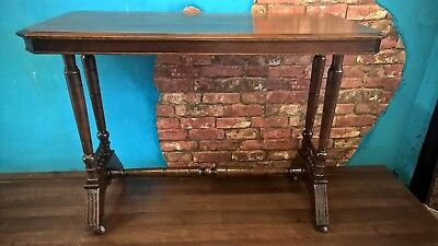 walnut victorian asthectic movement side table, hall /console table.