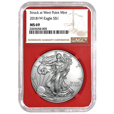 2018 (W) $1 American Silver Eagle NGC MS69 Brown Label Red Core