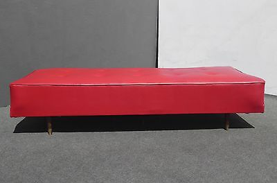 Vintage Mid Century Red Tufted OTTOMAN Daybed Bench by VITA in HOLLYWOOD