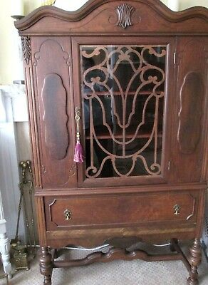 WOW! GORGEOUS Ornate Antique Walnut China Cabinet~NEWLY REFINISHED~W/ Contents