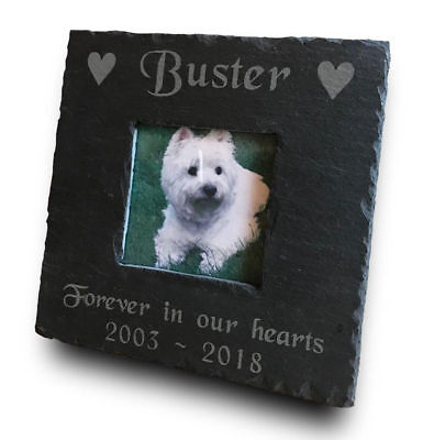Personalised Engraved Slate Pet Memorial Photo Picture Frame - Dog Cat Pets