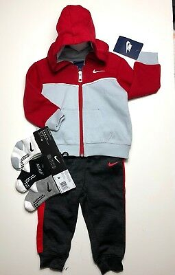Details about NEW Air NIKE Baby 3 pc outfit GIFT Set Hoodie Jacke, T Shirt & Pants 12M. GRAY