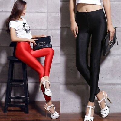 Women Sexy Thin Shiny Disco Dance Leggings Fluorescent Stretchy Pants Clubwear