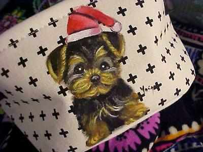 Yorkie  Puppy With Santa Cap Hand Painted Mini Bin For Christmas!