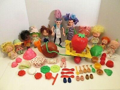 Lot of 11 Vintage Strawberry Shortcake Dolls and Accessories