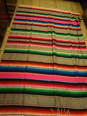 "85"" x 58"" Multi Color Large Sarape Mexican Saltillo Serape Throw Blanket"