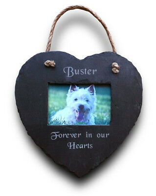 Personalised Engraved Pet Memorial Hanging Slate Heart Photo Frame Plaque Dog