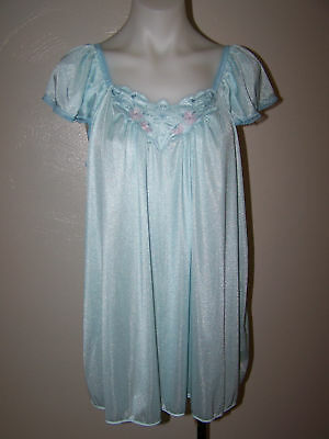 Vintage Mirage Blue Nylon Lace Shortie Sleeveless Nightgown Xl Sissy