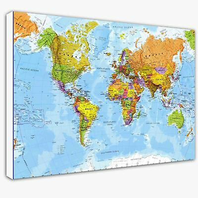 World Map Modern Canvas Print Crafted In London - Quality Assured