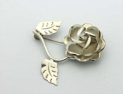 Sterling Silver .925 Mexico Beautifully Detailed Rose Flower Pin  8.3g #5155