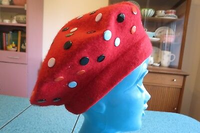 Vintage Red Wool French Basque Beret Studded With Colorful Metal Dots