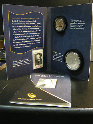 2015 US Mint Dwight D Eisenhower Coin And Chronicles Set w/Dollar & Silver Medal