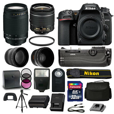 Nikon D7500 DSLR Camera 4 Lens Kit: 18-55mm VR +70-300 +Battery Grip Great Value