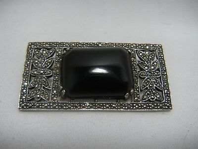 Antique Vintage  Art Deco  Sterling Silver Marcasite Onyx Pin Brooch Signed