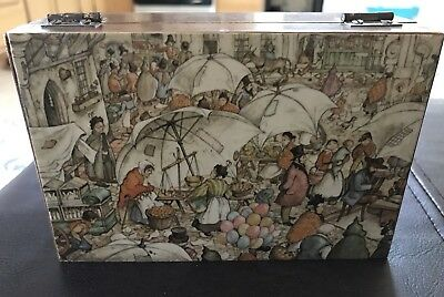 Wooden Hinged Box With Village Scene Vintage