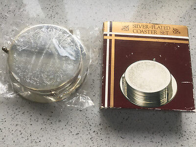 Box Set of Etched Silver Plated Round Coasters with Stand - Sealed Packaging