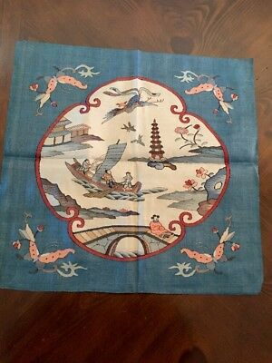 "Antique Chinese Silk Tapestry 19"" Square scenic figural Excellnt!"