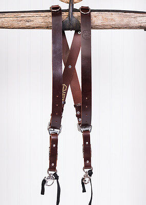 Large Burgundy Buffalo Leather HoldFast MoneyMaker Dual Camera Strap/Harness UK