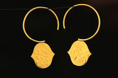 Rare 24 Carat (24K) PURE Solid Gold Disk Earrings Hammared Pure Gold Earrings