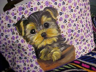 Yorkie Puppy Inside Clay  Pot Hand Painted Tote Lunch/makeup