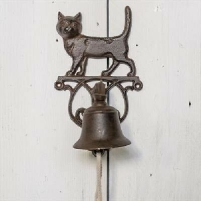 Classic Rustic Black Cast Iron Metal Doorbell Cat Design Bracket 14x15x25cm