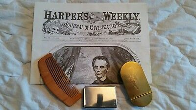 American civil war Tobacco tin, match safe, comb and 1860 copy of Harpers Weekly
