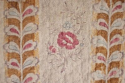 Antique French 18th century block printed linen 1700's floral design