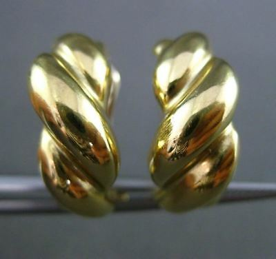 Estate 14Kt Yellow Gold 3D Multi Wave & Row Rope Semi Hoop Clip On Earrings