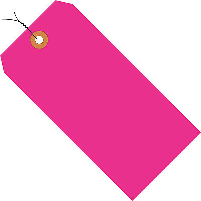"Box Partners Shipping Tags Pre-Wired 13 Pt. 4 1/4"" x 2 1/8"" Fluorescent Pink"