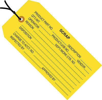 "Box Partners Inspection Tags Pre-Strung ""Scrap"" 4 3/4"" x 2 3/8"" Yellow 1000/Case"