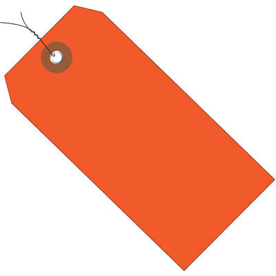 "Box Partners Plastic Shipping Tags Pre-Wired 4 3/4"" x 2 3/8"" Orange 100/Case"