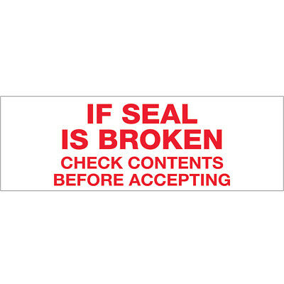 "Tape Logic Pre-Printed Carton Sealing Tape ""If Seal Is Broken..."" 2.2 Mil 3"" x 1"