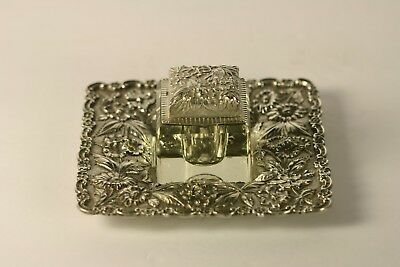Antique Crystal & Repousse Sterling Silver S Kirk & Son Co Inkwell 925/1000 NR