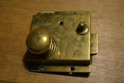 Old Georgian brass bathroom door rim lock rare restoration vintage antique